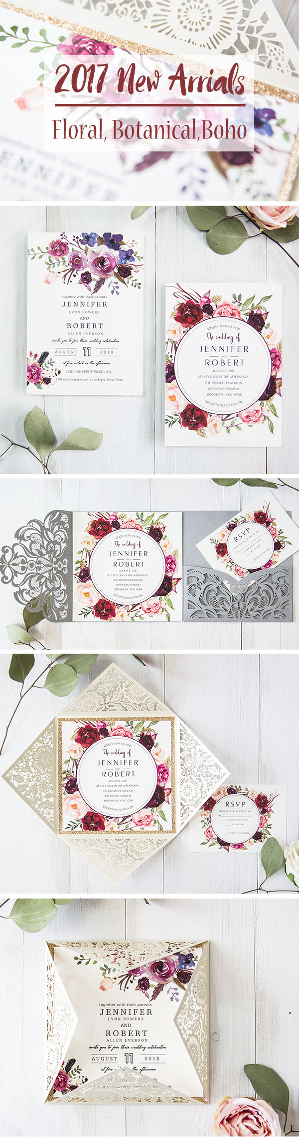 trendy romantic floral, botanical and bohemian laser cut wedding invitations
