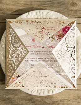 Bohemian Rustic Floral Laser Cut Invitations with Glittery Accents EWWS085