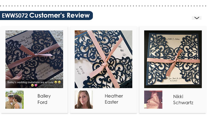 Classic Navy Blue and Blush Pink Laser Cut Wedding Invitations EWWS072 Customer Review