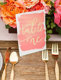 Coral and Gold Wedding Reception