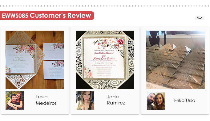 EWWS085 Bohemian Rustic Floral Laser Cut Invitations with Glittery Accents Customer Review