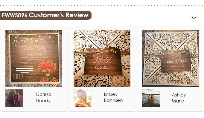 EWWS096 Customer Review Rustic Stringlights Maple Leaf Laser Cut Wedding Invites with Twines