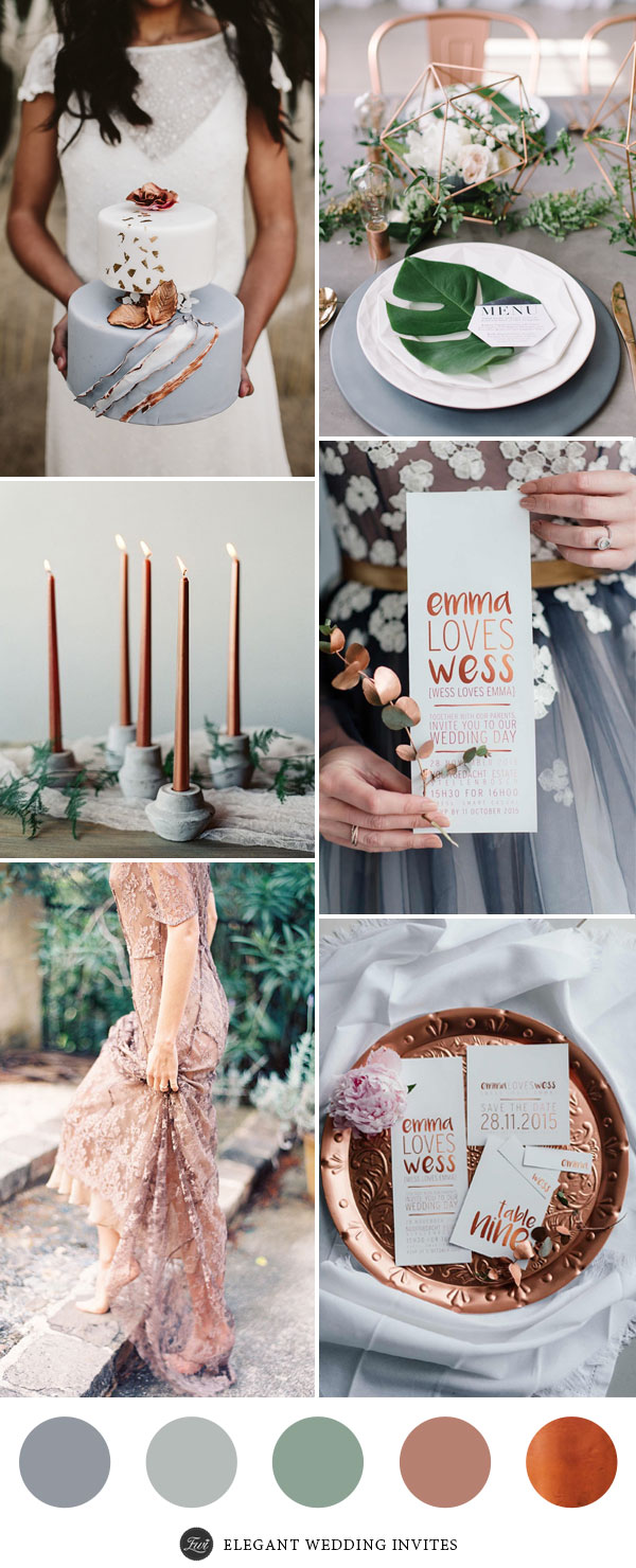 Elegant Gery and Copper Wedding Ideas