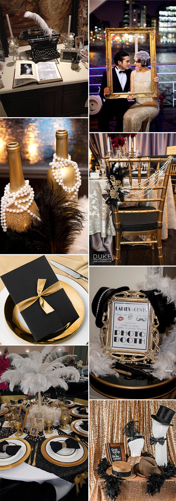 Gatsby vintage glamour wedding decoration ideas