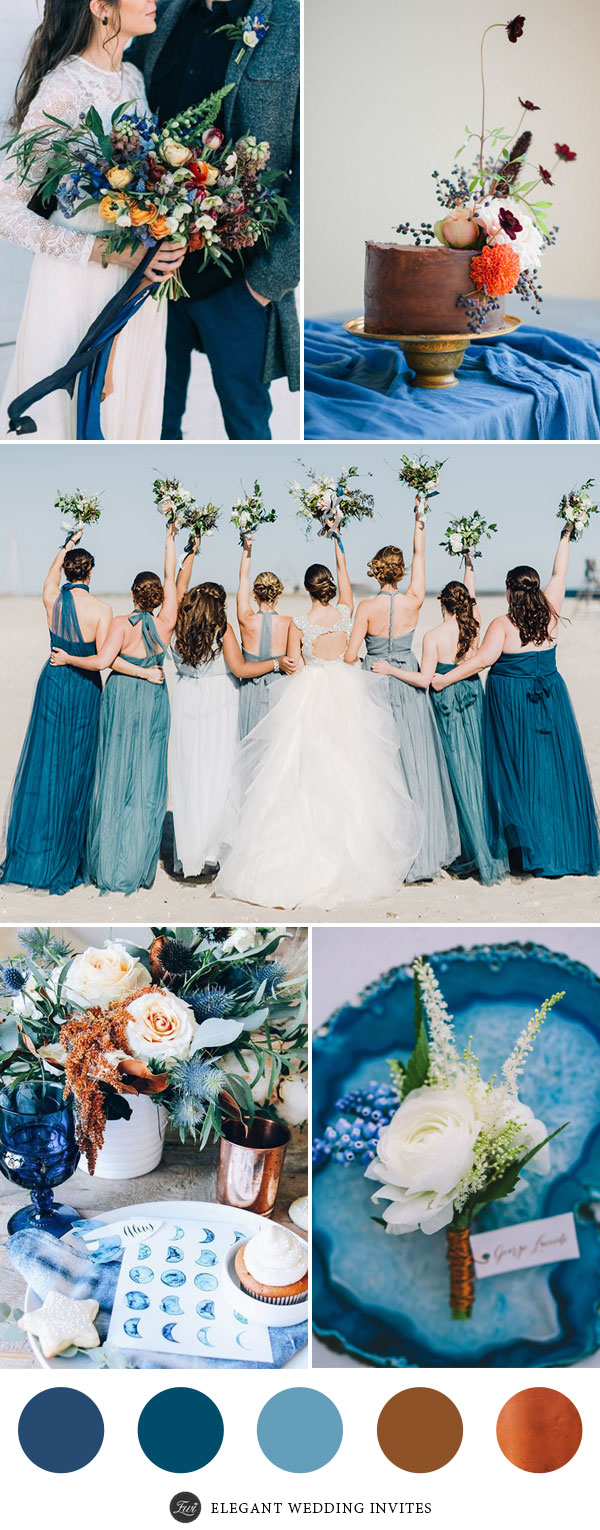 Perfect 7 wedding color palettes 2017 with metallic copper accents indigo blue and copper wedding color palette junglespirit Gallery