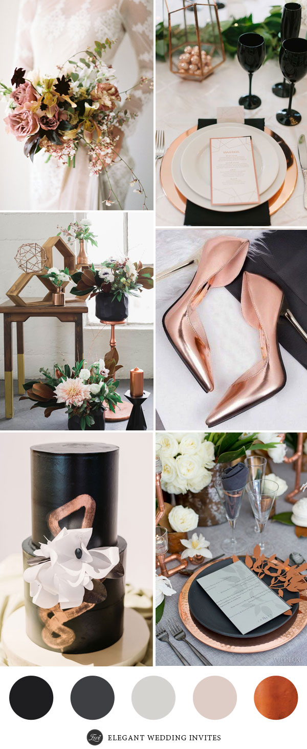Industrial Black and Copper Wedding Color Palettes