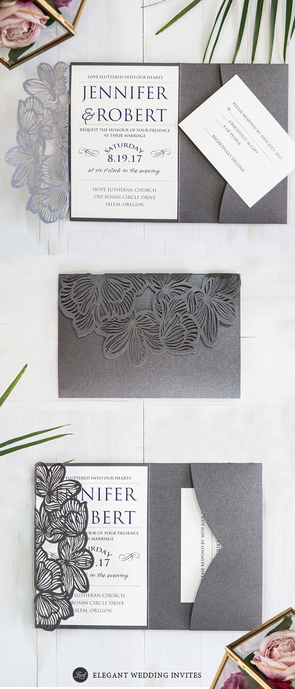 Industrial Grey Pocket Laser Cut Wedding Invites EWWS184