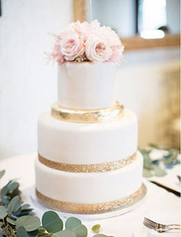 Intimate and Elegant Wedding Cake with Soft Blush Roses Topper and Touch of Gold