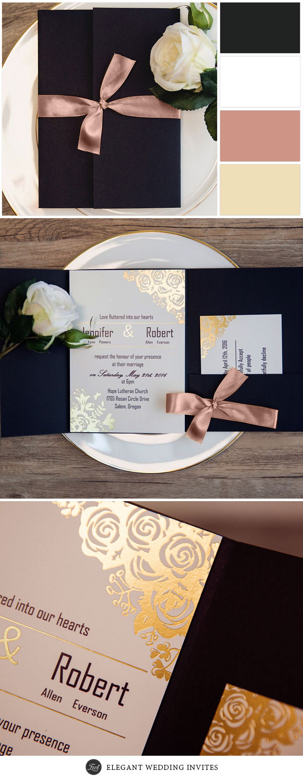 Luxury Black and Custom Glitter Pocket wedding Invitations EWPI199 With Copper Ribbon