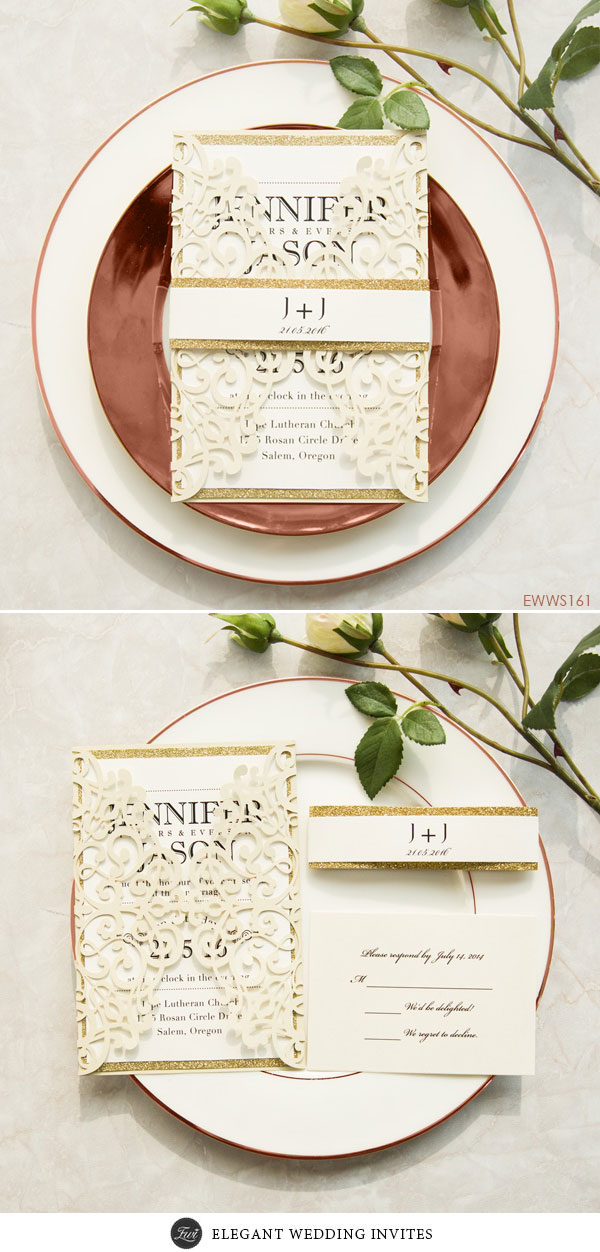 Modern Ivory Laser Cut Wedding Invitations with Gold Glittery Belly Band EWWS161