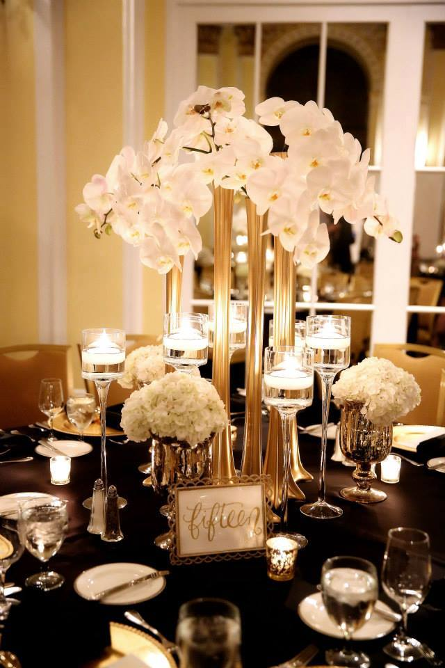 Modern great gatsby styled elevated centerpiece ideas