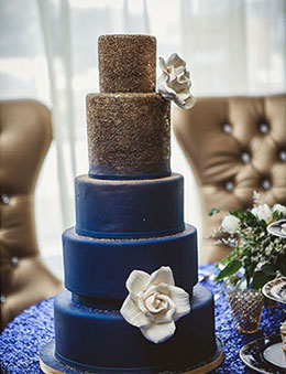 Navy Blue and Glitter Wedding Cake