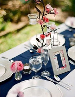 Navy Blue and Pink Wedding Reception Color Combo