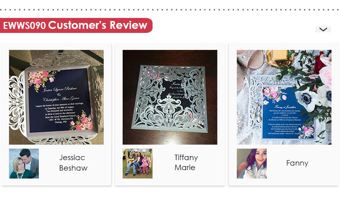 Navy Blue and Silver Floral Laser Cut Wedding Invitations EWWS090 Customer Review
