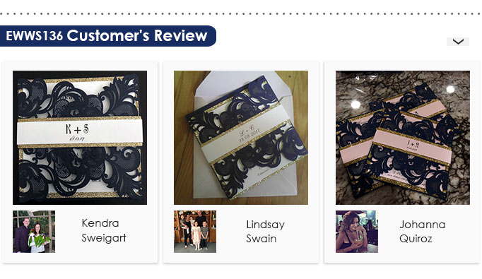 Navy blue laser cut wedding invitation with glittery border Customer Review