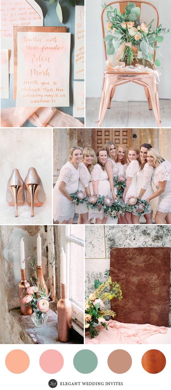 Peach and Blush Wedding Colors with Copper Accented Decoration Ideas