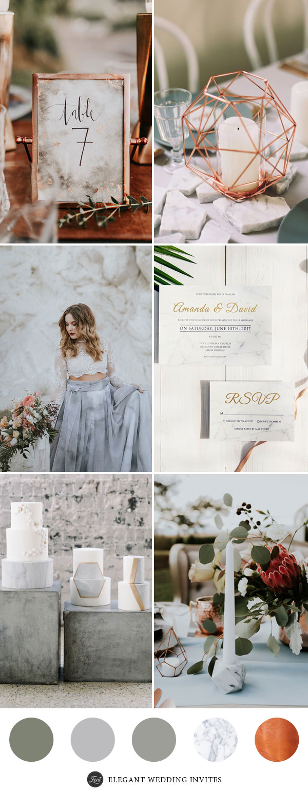 Perfect 7 Wedding Color Palettes 2017 with Metallic Copper Accents