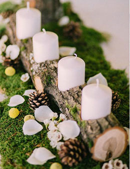 Rustic Wooden Moss and Pine Cone Decor