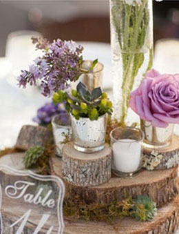 Shabby Chic Flowers Succulent and Candles Wedding Decoration