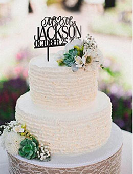 Simple Wedding Cake with Personalized Monogram Topper