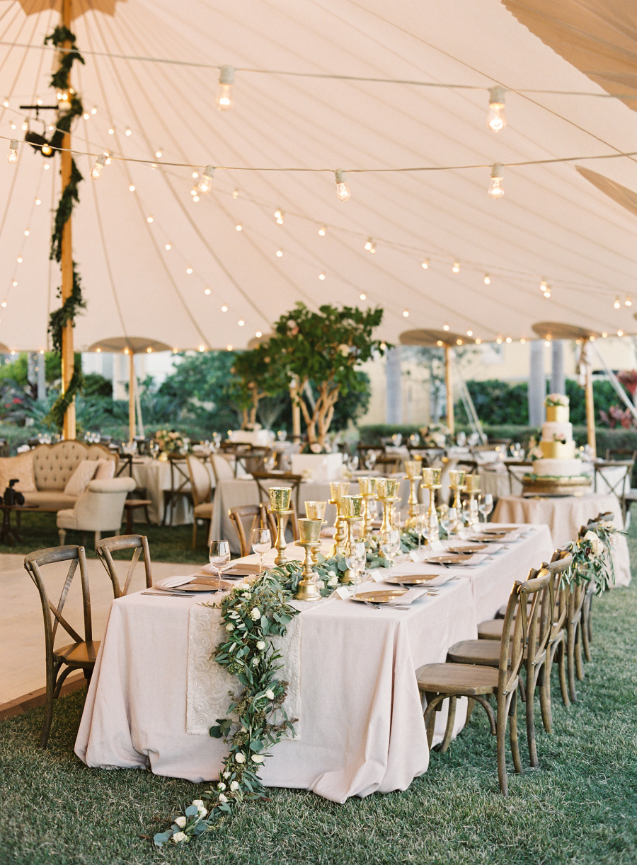 backyard tent wedding garland centerpieces