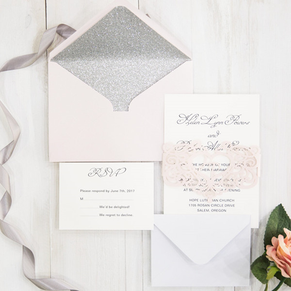 blush and sparkly silver wedding cards