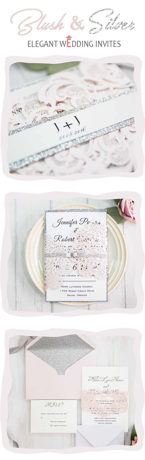 Stunning pink wedding ideas and invitations with gold silver blush pink and silver grey elegant wedding invitations for romantic brides monicamarmolfo Choice Image