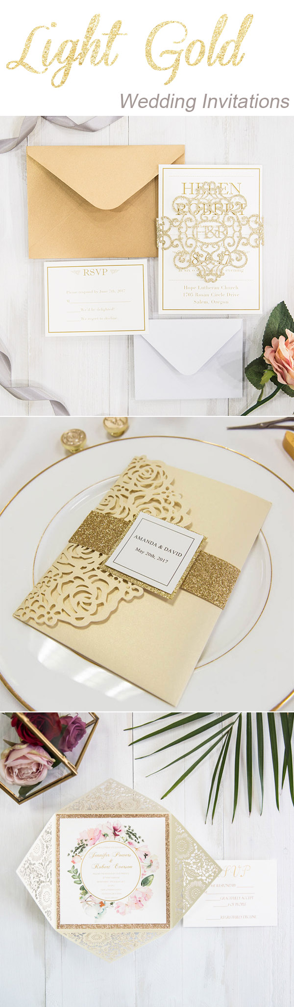 chic elegant gold and goil wedding invitations