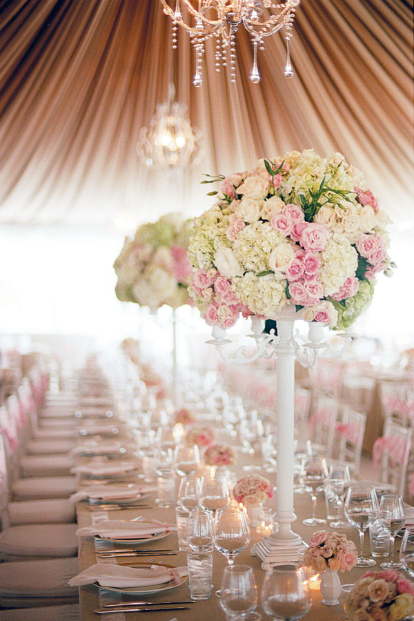 dreamy pink floral tented wedding reception ideas with romance