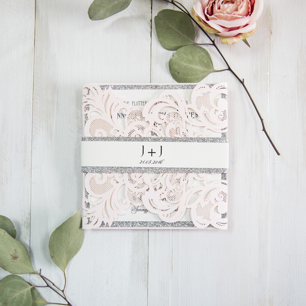elegant blush and silver laser cut wedding invitations