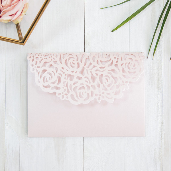 elegant blush pink rose floral laser cut wedding invites