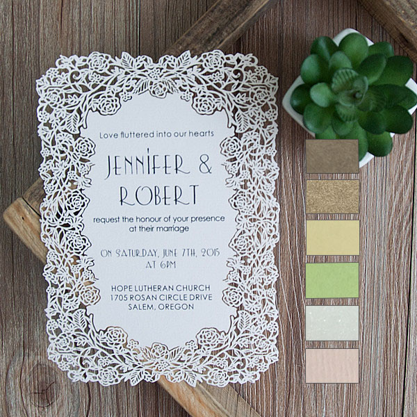 elegant flat laser cut wedding stationery