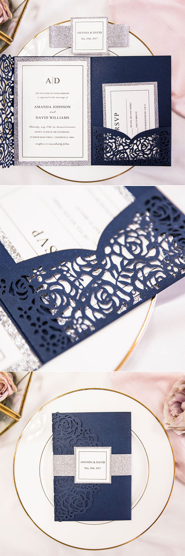 elegant navy blue rose laser cut pocket wedding invitations with glitter belly bands