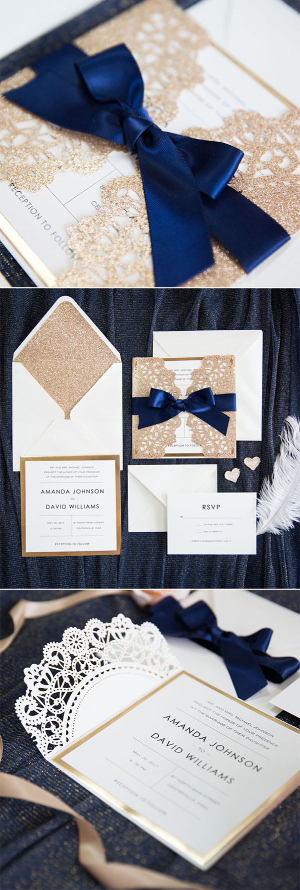 elegant rose gold and navy blue glitter wedding invitations with gold glitter mirror paper bottom