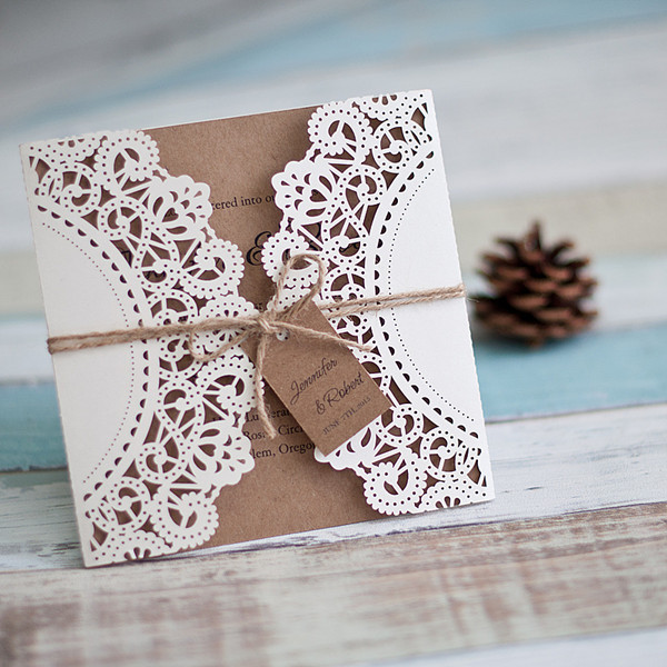 elegant rustic laser cut wedding invitations with burlap and tags