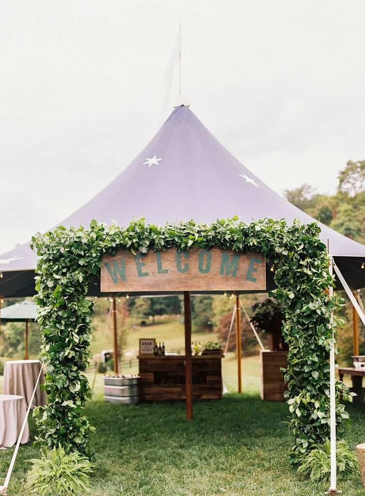 greenery tent wedding entrance decoration ideas