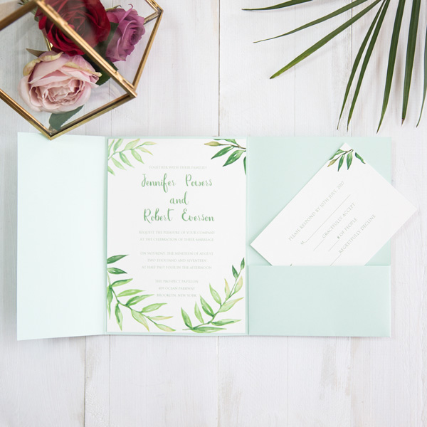 greenery wreath pocket wedding invitations