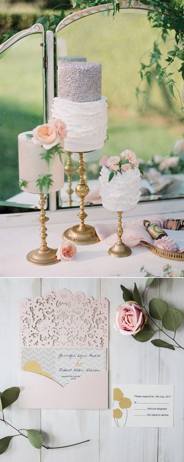 grey, gold, peach and blush country wedding cakes and invitations