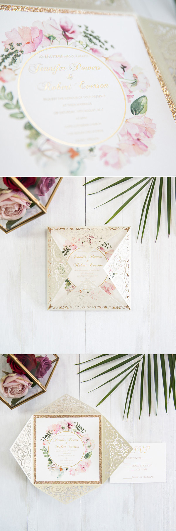 ivory and blush pink gold glitter watercolor laser cut wedding invitations