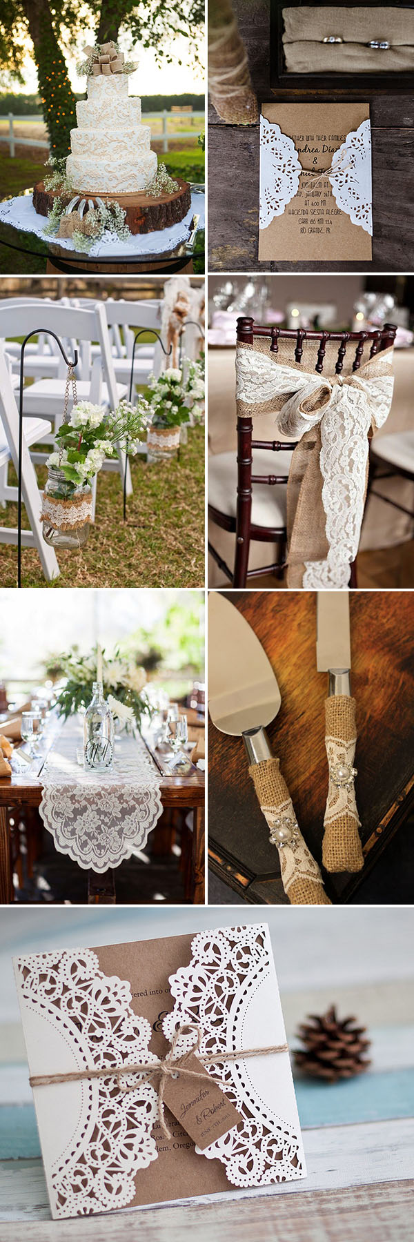 lace and burlap rustic vintage wedding ideas and invitations