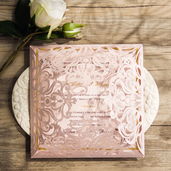 laser cut blush pink and gold foil wedding invitations