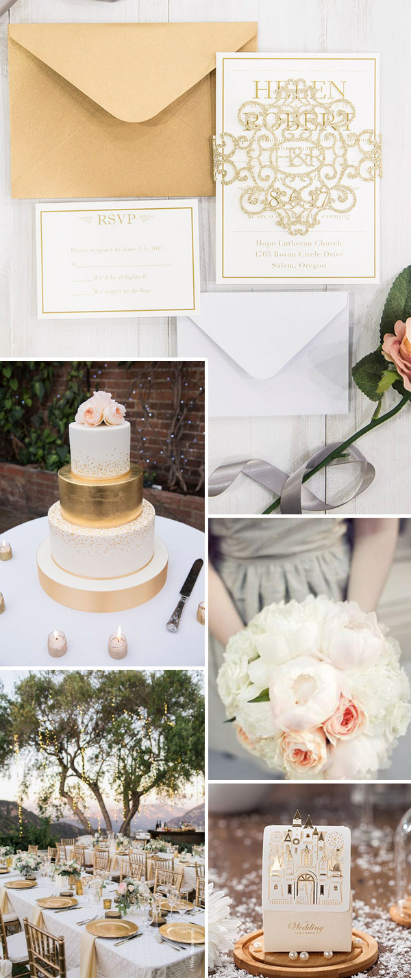 light gold and blush wedding color ideas