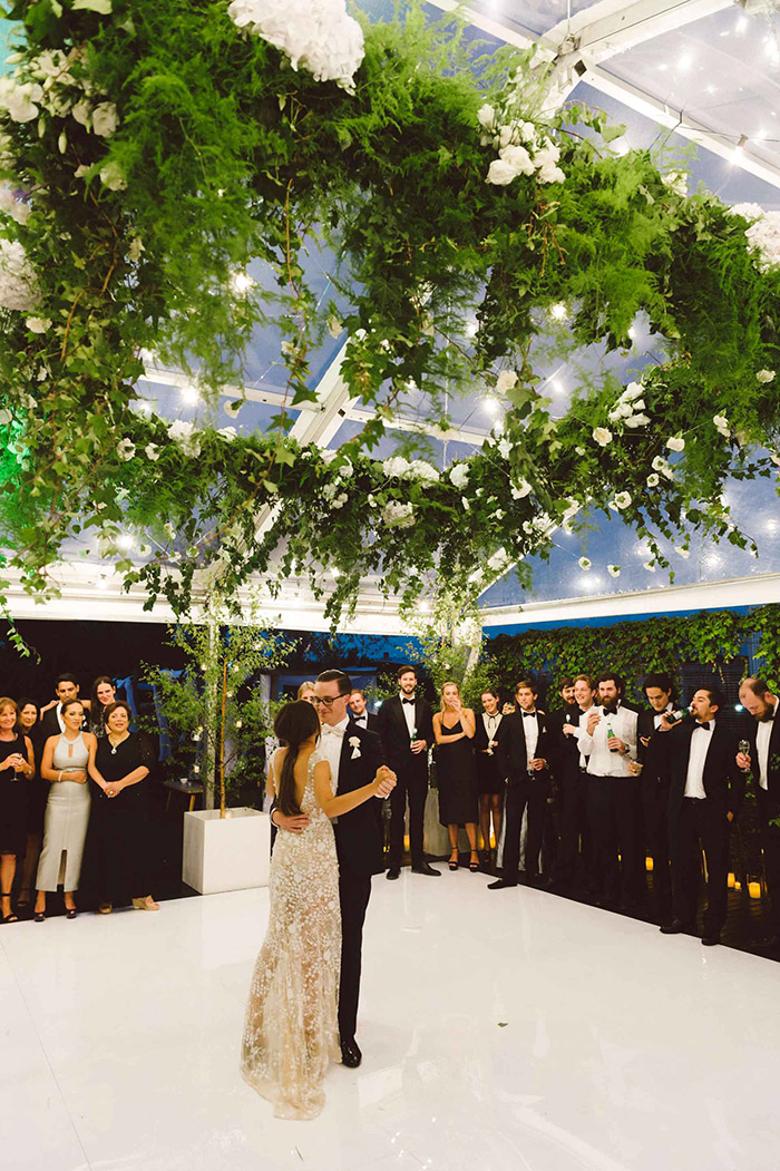 lush foliage suspended wedding dancefloor decoration ideas