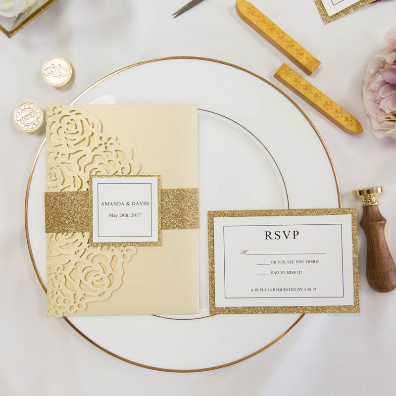 luxury pale gold laser cut pocket wedding cards