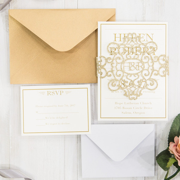 modern gold glitter monogram wedding cards with wide glitter belly band