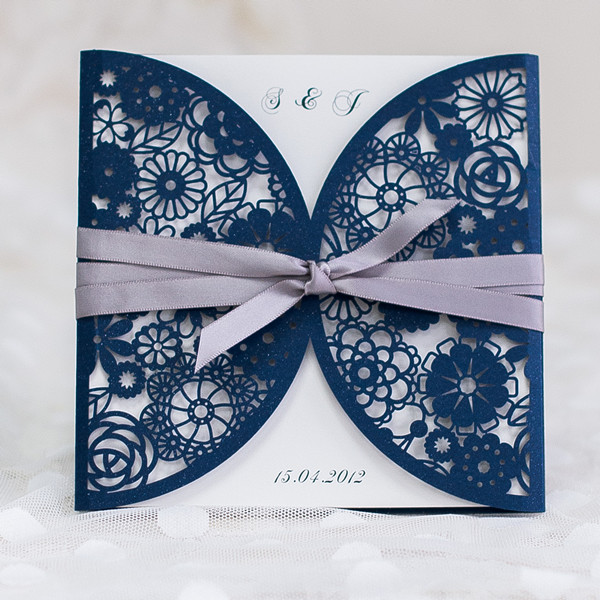 navy blue wedding invitation with lavender ribbon