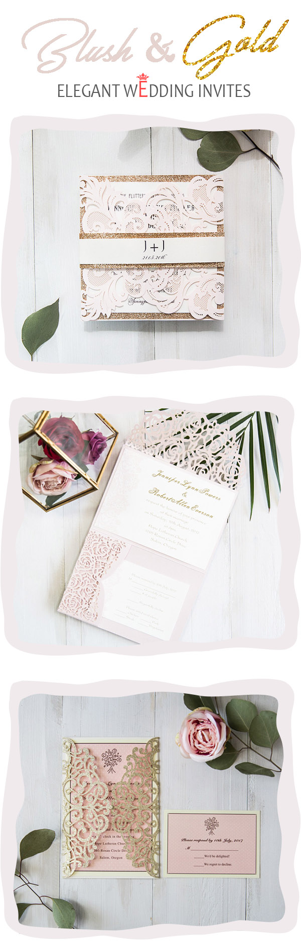 popular blush pink laser cut wedding invitation accented with glittery gold