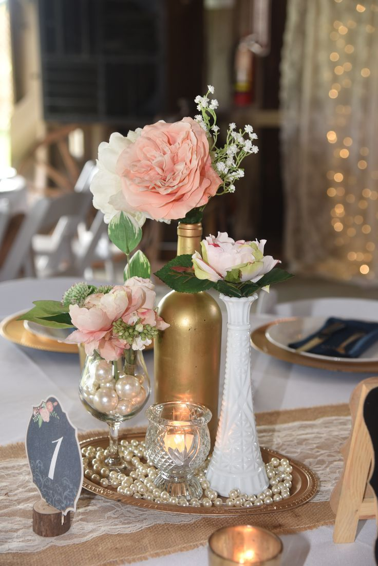 pretty gold and pink flora vintage wedding centerpieces with pearls