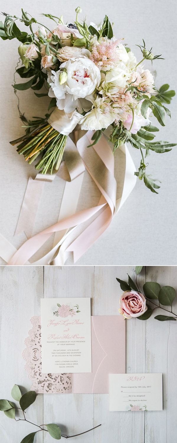 pretty light gold and blush greenery bridal bouquets with invitation ideas