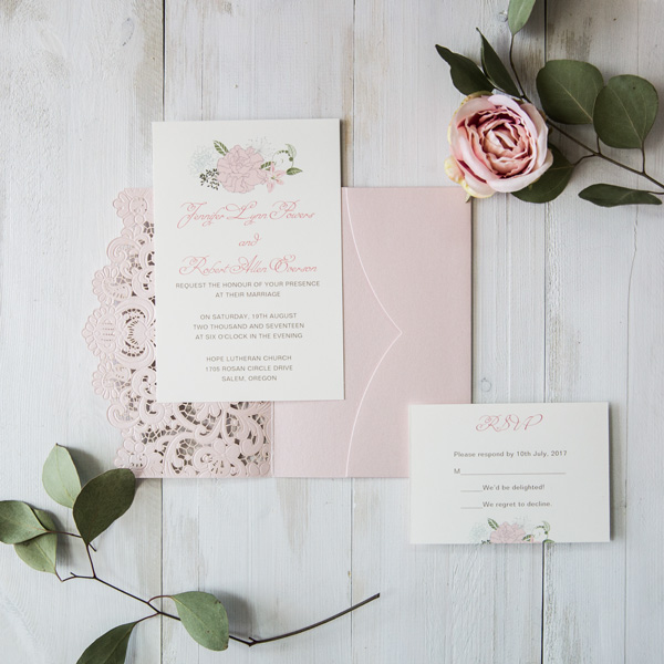 romantic blush laser cut pocket wedding invitations